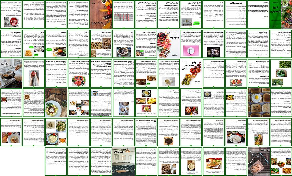 نمای کلی صفحات کتاب شروع گیاهخواری